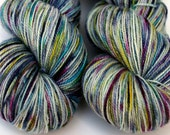 "Speckle Dyed Sock Yarn, Superwash Merino and Silk 80/20 Fingering Weight, in ""Dragonfly"""