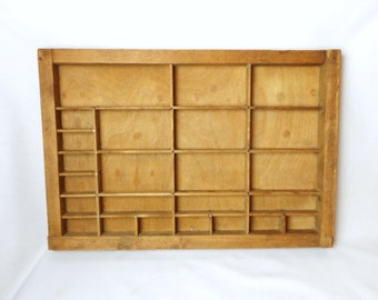 Vintage / Antique Small Wooden Printers Tray