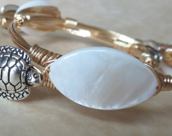 "White Mother of Pearl Marquise Shaped Bangle Bracelet ""Bourbon and Bowties"" Inspired"