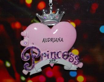 Personalized Princess Heart Tiara Ornament