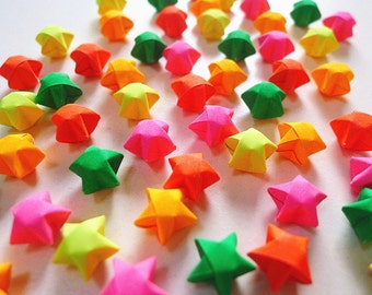 Fluorescent Color Origami Lucky Stars-Wishing Stars/Home Decor/Party Supply/Embellishment/Gift Enclosure