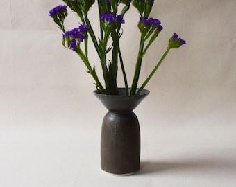 Black Ceramic Vase/Flower Vase/Vase/Texture/Wide Rim/Ceramic Vase/Handmade Vase/Modern Vase/ (C12)