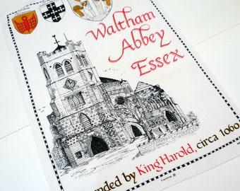 English Tea Towel,  Souvenir Tea Towel, By Causeway, Depiction of Waltham Abbey Essex Church,  Vintage Linens by TheSweetBasilShoppe