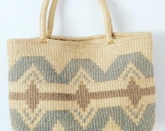 Vintage Jute Woven Ethnic Hippie Boho Tote Bag Purse