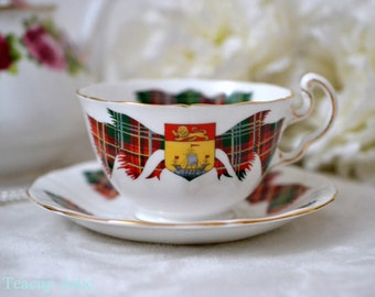 Elizabethan Teacup and Saucer New Brunswick Tartan, English Bone China, Porcelain Teacup, Wedding Gift, ca 1960