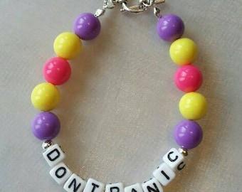 Don't Panic Bracelet - Pink, Purple and Yellow
