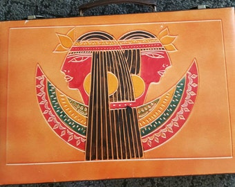 Vintage Backgammon Board Travel Set Brown Egyptian Pharaoh Backgammon