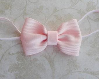 Small Pink Bow Headband, Newborn Bow Headband, Baby Grosgrain Ribbon Bow Headband, Tiny Bowtie Headband, Petite Bow Headband, Baby PhotoProp