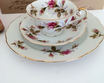 Vintage Lefton Tea Cup With Saucer and Salad Plate Lefton Exclusives Hand Painted Rose Buds Gold Trim Three Piece Tea Party Set