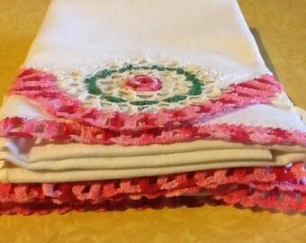 Pillow Cases Hand Crocheted Pink Green Flowers Standard