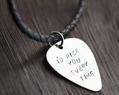 Valentines Day Gift Valentines Day Gift / Personalized Handstamped Guitar Pick Necklace, Men's Personalized Guitar Pick Necklace, Gift For M