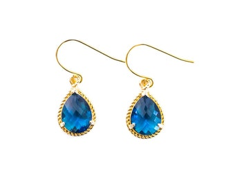 Navy blue teardrop earrings