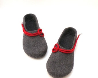 SALE Felted wool slippers for women -  handmade wool clogs - grey red felt slipper - made to order - Wedding gift
