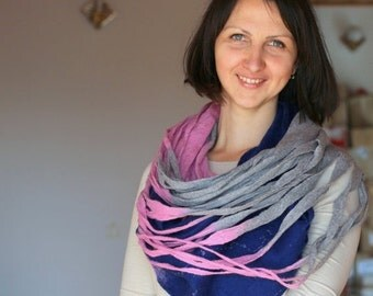 SALE Women infinity scarf - Cobweb felted wool circle scarf - necklace / grey pink deep blue READY TO Ship