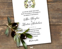 Olive Branch Wedding Invitation Printable