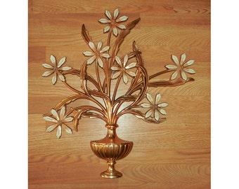 Syroco Wood Dahlias Plaque Gold Wall Hanging No. 4560