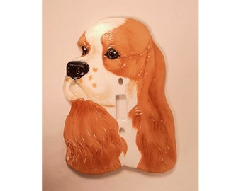 Cocker Spaniel Light Switch Cover Black Tan Signed Dated 1985 Ceramic