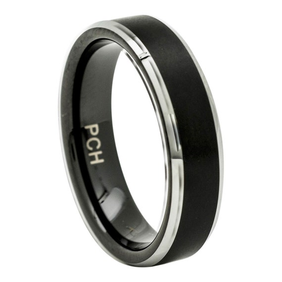 tungsten mens wedding band black brushed finish 6mm comfort fit