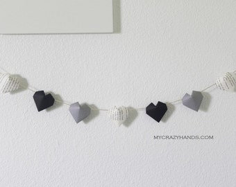 origami heart garland | books | gift for him | 3d hearts || nursery garland {heart like a balloon} -navy stripe book black mixed