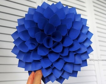 paper dahlia . 9'' dahlia wall decor . origami flower . wedding gift . origami gifts . dahlia door wreath -royal blue