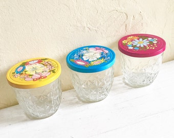 Trio of Small Ball Canning Jelly Jars with Decorative Metal Lids 3 Three Bright Colors