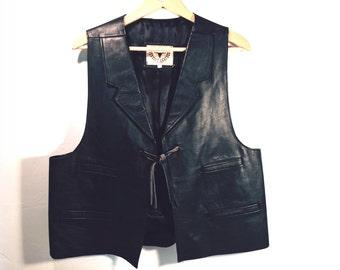 Black Leather Western Cowboy Vest by Bull Genuine Leather, Men's size XL
