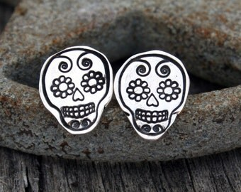 Sterling Silver Earrings – Sugar Skull, Día de los Muertos, Day of the Dead