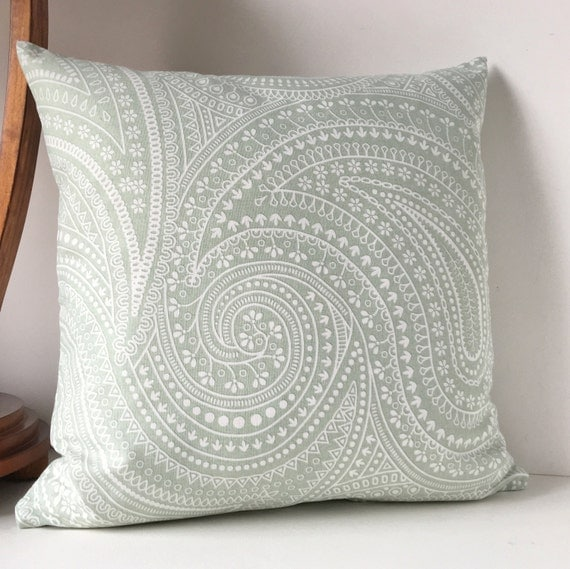Pillows Spa Light Gray Green White Paisley Pillow Throw