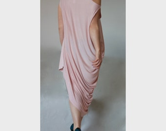 Asymmetric Cut Shoulder Dress/ Plus Size Loose Dress / XXL XXXL Losse Drap Tunic/ Dusty Pink Jersey Party Dress/ Drap Plus Size Dress DR007