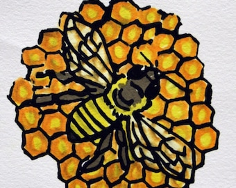 Handcolored Screen Print - Honey Bee