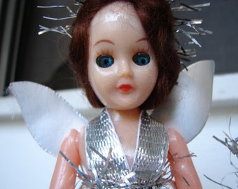 1950's antique fairy doll, Christmas tree topper doll 7'' in original clothes-open & close blue eyes-brunette