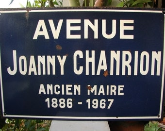 original French enamel street sign, Avenue Joanny Chanrion, shabby chic old sign. Loft, industrial