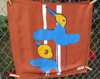 Olivia Rosselli Roma Abract Birds on Vintage Acetate Scarf Blue Gold and Rusty Brown