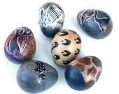 Set of 6 SOAPSTONE EGGS From Africa. Each egg is beautifully decorated with an African Theme. Each egg is a miniature art piece.