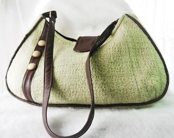 Medium Shoulder Bag, Upcycled Vintage Jacket Purse,  Shoulder Bag, Purse, Vintage Fabric, Hobo Bag, Green and Brown, UPCYCLED Recycled Bag