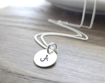 Silver Initial Necklace Sterling Silver monogram necklace silver initial necklace Silver - Letter Necklace - Alphabet Charm Necklace