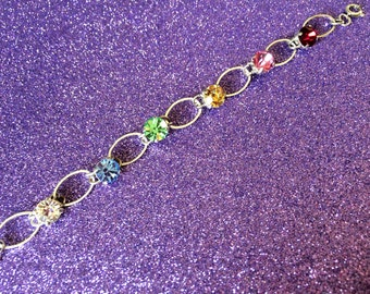Bracelet Multi coloured Crystal Glass Rhinestone Handmade Tennis style Oval Links approx 7 inches  Modern Ladies Jewelry