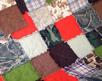 Fall Sale- The Hunter - Large Rag Quilt - Twin Size