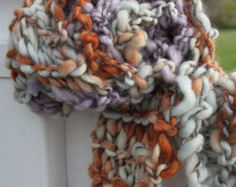 ENTIRE SHOP SALE Hand Knit Bulky Scarf, in Purple, Gray, Orange and more, of Super Soft Handspun Hand Dyed Bulky Yarn
