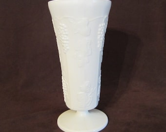 Milk Glass Vase Grapes and Ivy Pedestal White Glass Vase Vintage Collectible Home Decor