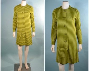 Vintage 60s Avocado Green Striped Mod Shift/ Button Up Front Mini Dress/Secretary Twiggy Button up Mini by Margie Webb SZ XS