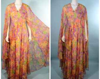 Vintage 70s Sheer Floral Bohemian Goddess Angel Cape Overlay Maxi Dress/ Boho Hippie Long Flowing Hostess Gown/ Festival Party Dress SZ S