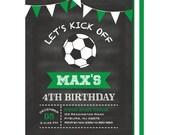 Soccer Invitation, Soccer Birthday Invite, Soccer Bunting Birthday Party, Chalkboard Soccer Birthday Invitations, Printed or Printable