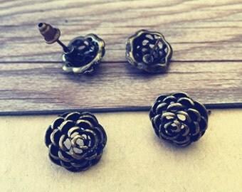 20pcs 15mm Antique Bronze Rose  Flower  Stud Earrings Accessories