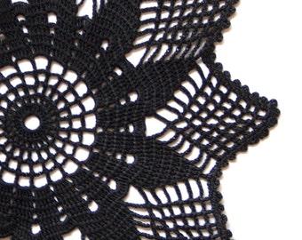Black Crochet Doily Vintage hand dyed Doily