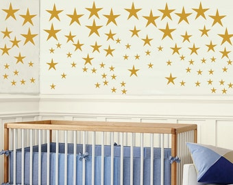 Gold Stars Wall decals Set - Star decals - Gold Confetti Stars - Baby Nursery Wall Decor- Gold Decals - Gold Wall Decals
