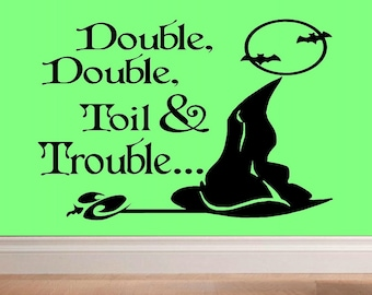 wall decal halloween witch - Double double toil & trouble... Z024 halloween wall decor witch decoration