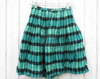 Girl's Skirt 70's Wool Skirt Vintage Kid's Clothing Mod Preppy Green Skirt for Girls Size 10 12