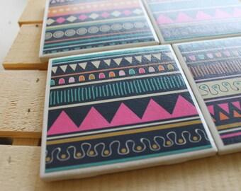 Tribal Geometric Coasters Four Piece Ceramic Tile Set