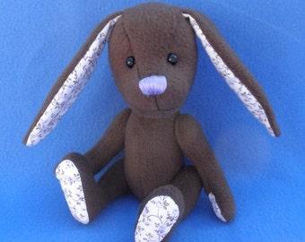 Viola - Chocolate Brown Easter Bunny, Artist soft sculpture rabbit, plush rabbit